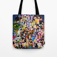 dragonball z Tote Bags featuring DragonBall Z - Insane amount of Characters by Mr. Stonebanks