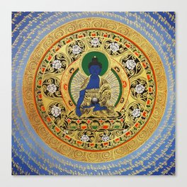 Blue Meditation Tibetan Buddhist Thangka Canvas Print