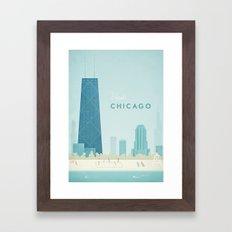 Vintage Chicago Travel Poster Framed Art Print
