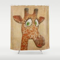 funky Shower Curtains featuring funky giraffe by Ancello