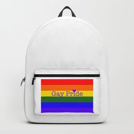 LGBT Gay Pride Flag with Text and Heart Backpack