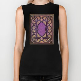 Purple and Gold Vines Book Biker Tank