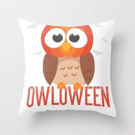 owl Halloween Owloween pumpkin head and bats Throw Pillow