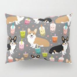Corgi boba tea bubble tea kawaii food welsh corgis dog breed gifts Pillow Sham