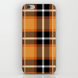 Orange + Black Plaid iPhone Skin