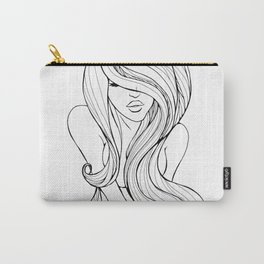 Long hair girl sketch Carry-All Pouch