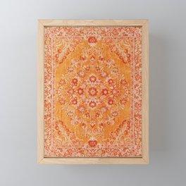 Orange Boho Oriental Vintage Traditional Moroccan Carpet style Design Framed Mini Art Print