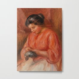 Girl Darning Metal Print