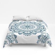 Mandala in Indigo Ink #3 Comforters