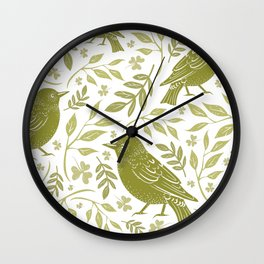 Blackbirds and Foliage I Wall Clock