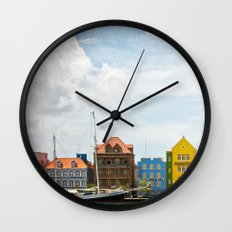 Colorful houses Willemstad Wall Clock