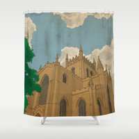downton abbey Shower Curtains featuring Dunfermline Abbey by Ross Napier