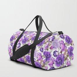 Violet lilac pink watercolor botanical roses floral Duffle Bag