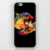luffy iPhone & iPod Skins featuring Luffy Attack by feimyconcepts05