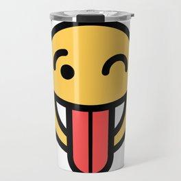 Smiley Face   Big Tongue Out And Squinting Joking Happy Face Travel Mug