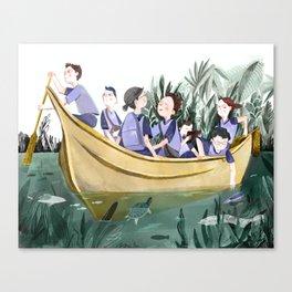 Yellow School Boat Canvas Print