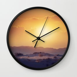 Tourists Watching A Desert Sunset in  the White Sands National Monument in Alamogordo, New Mexico. Wall Clock