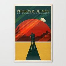THE MOONS OF MARS - Phobos & Deimos | Space | X | Retro | Vintage | Futurism | Sci-Fi | Two Canvas Print