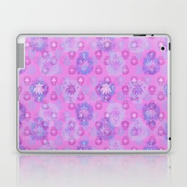 Lotus flower - rich rose woodblock print style pattern Laptop & iPad Skin