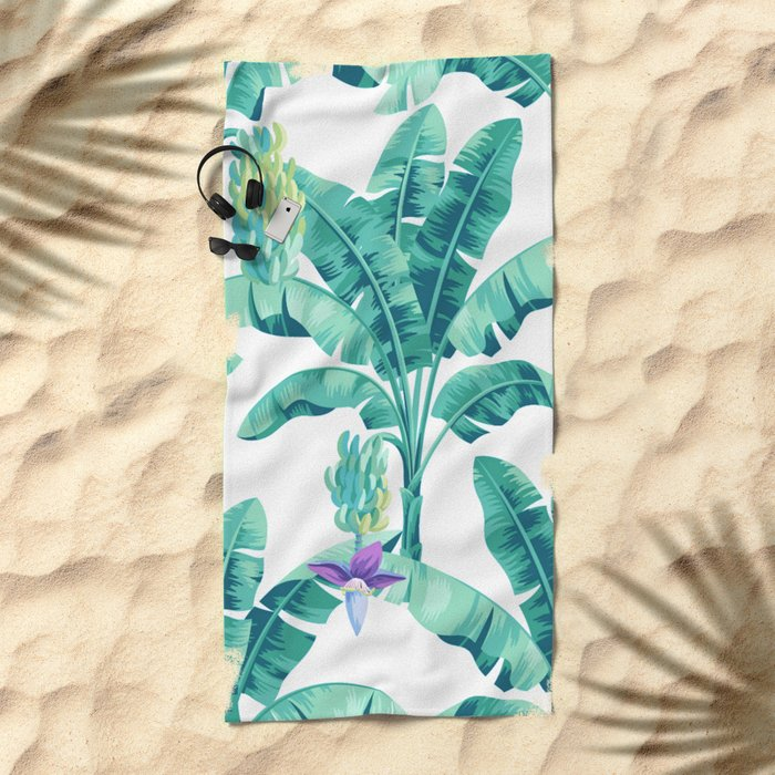 Banana leaf bloom Beach Towel