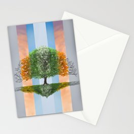 Digital painting of the seasons of the year in a tree Stationery Cards