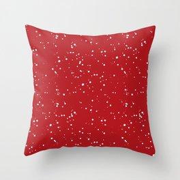 Red white Christmas  polka dots snow pattern Throw Pillow