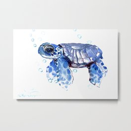 Baby Blue Turtle Metal Print
