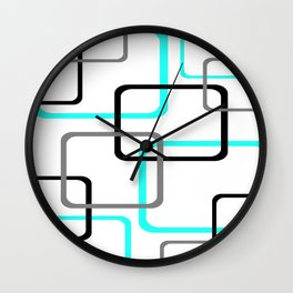 Geometric Rounded Rectangles Collage Teal Wall Clock