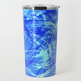 Abstract Blue with Lines Travel Mug