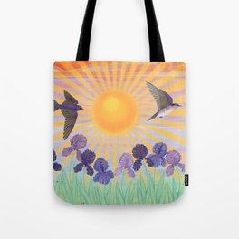 purple martins, irises, & sunshine Tote Bag