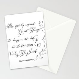 """""""Quietly Expected""""- Zelda Fitzgerald quote Stationery Cards"""