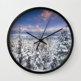 """""""Mountain light"""". Snowy forest at sunset Wall Clock"""