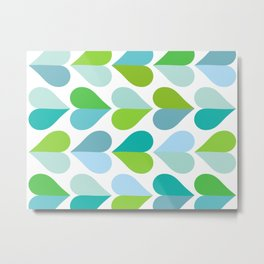 Love and kisses - green and blue Metal Print