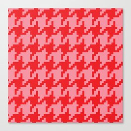 Houndstooth - Pink & Red Canvas Print