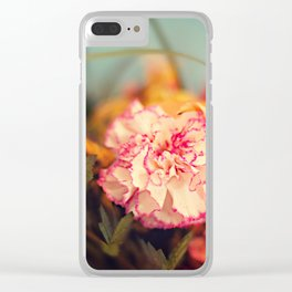 White & Pink Carnation Clear iPhone Case