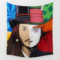 johnny depp Wall Tapestries featuring Face It Johnny by Shawn Stomp