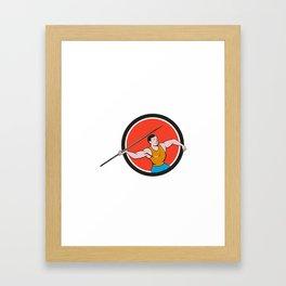 Javelin Throw Track and Field Circle Cartoon Framed Art Print