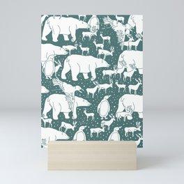 Polar gathering (emerald) Mini Art Print