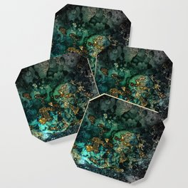 Gold Indigo Malachite Marble Coaster