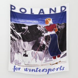 Poland for Winter Sports - Vintage Travel Wall Tapestry