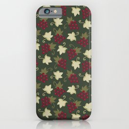 Sweet Grapevine on Forest Green iPhone Case