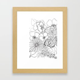 Flower Bouquet Black and White Illustration Framed Art Print