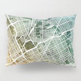 Detroit Michigan City Map Pillow Sham