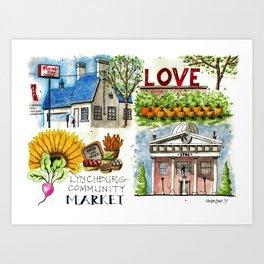 Lynchburg, Virginia - 4 Scenes Around Town Art Print