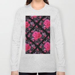 FUCHSIA PINK ROSE BLACK BROCADE GARDEN ART Long Sleeve T-shirt