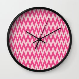 Neon Pink Chevron Wall Clock