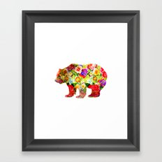 Bear on Flowers Framed Art Print
