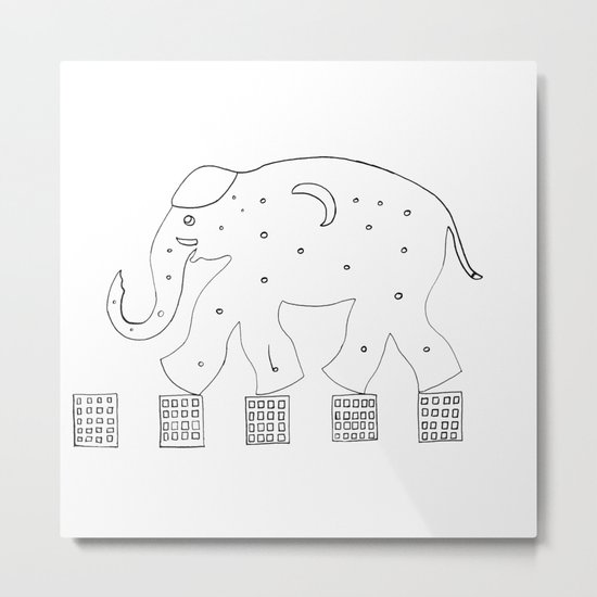 the elephant in the city Metal Print