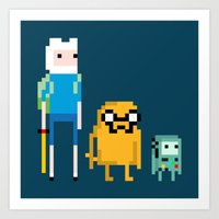 beemo Art Prints featuring Adventure Pixel Time by Raquel Segal