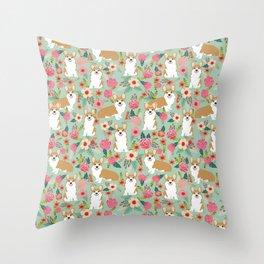 Corgi Florals - vintage corgi and florals gift great for corgi lovers, corgi gift, corgi florals, co Throw Pillow